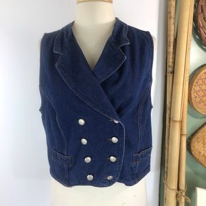 Vintage Crazy Horse Double Breasted Denim Vest